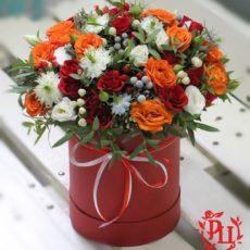 """Коробка с цветами """"Оранжевое солнце"""""""