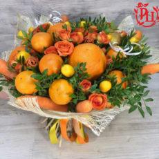 """Букет из цветов и фруктов """"Апельсиновые розы"""""""