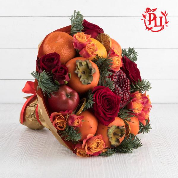 """Букет из фруктов и роз """"Пламенеющие чувства"""""""