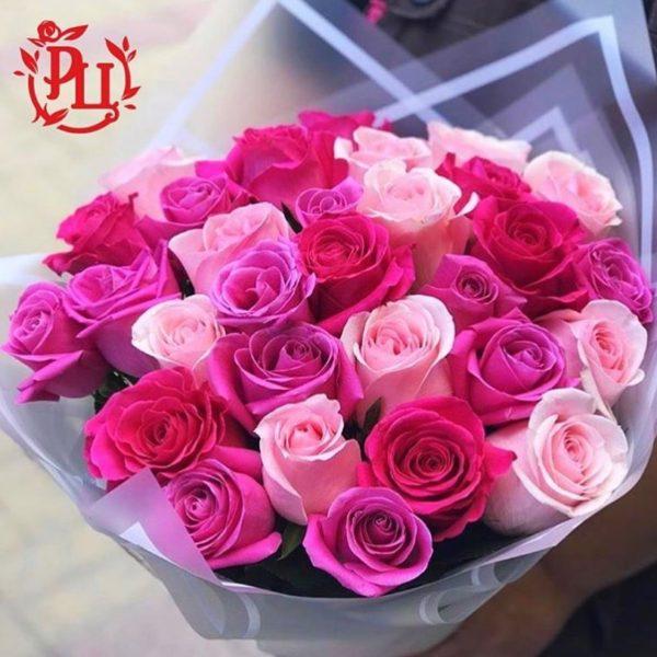 Букет из 31 розы, нежный розовый микс!