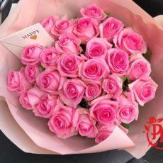 Букет 31 розовая роза в упаковке