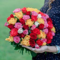51 роза микс 40см Кения